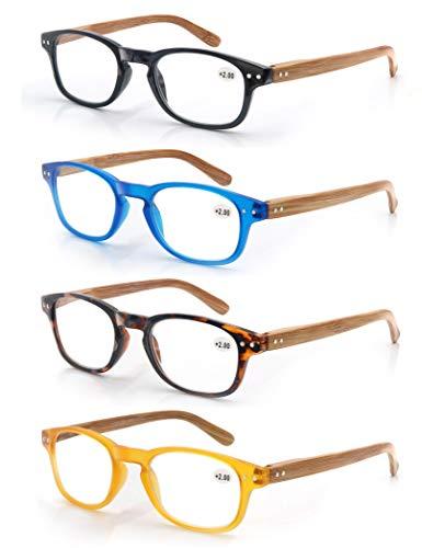 MODFANS (4 Pack) Lesebrille 1.5 Herren/Damen,Gute Brillen,Hochwertig,Komfortabel,Rechteckig,Holz-Effekt,Super Lesehilfe,fur Manner und Frauen
