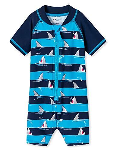 Schiesser Jungen Shark Fever Baby-Surfanzug Badeanzug, Blau (Admiral 801), 74 (Herstellergröße: 413)