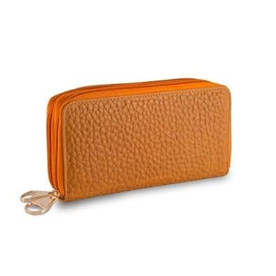 Réel portefeuille en cuir de veau de la femme avec double zip en ligne DUDU métal Color Orange