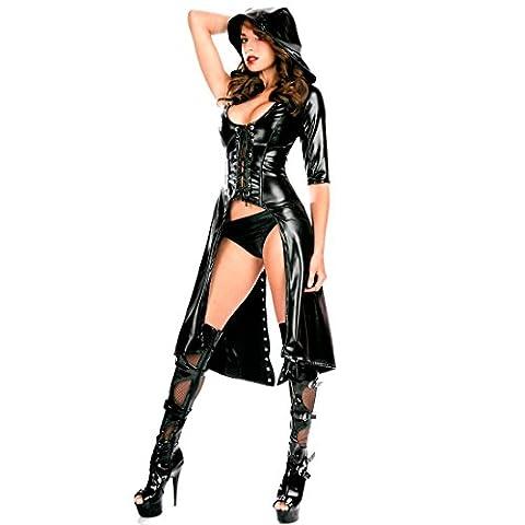 Tiaobug Damen Wetlook Catwoman Kostüm Catsuit Leder Optik Gothic Overalls Bodysuit Clubwear