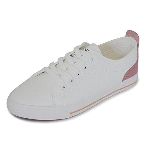 Damen Sneaker Canvas Atmungsaktiv Einfach Klassisch Rutschhemmend Sportlich Strapazierfähig Leicht Weich Bequem Modisch Schnürhalbschuhe Pink