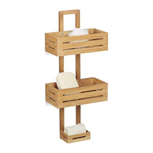 Relaxdays Duschregal Bambus H x B x T: 65 x 28 x 15,5 cm Duschablage aus Holz als Hängeregal Dusche mit 3 Ablagen Duschkorb als Badregal zum Hängen und rostfreier Badschrank sowie Badablage, natur