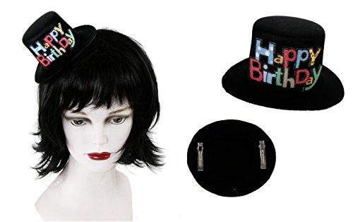 Hut mit Clip Geburtstagshut mini Happy Birthday Geburtstagszahlen Zahl Geburtstag 18,30,40,50,60,70, (Happy Birthday)