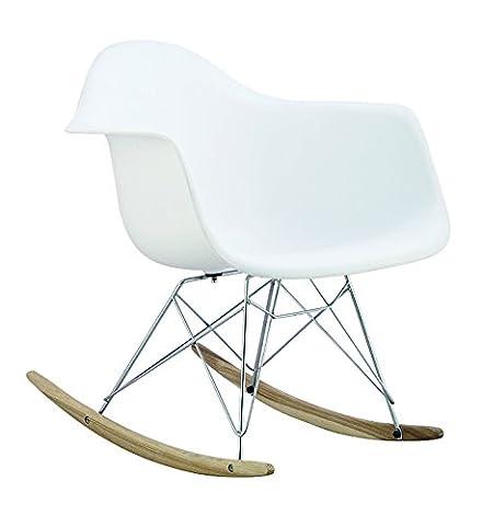 Promo 1 x Fauteuil à Bascule Rocking Chair Eiffel Pieds Bois Clair Assise Blanc Mobistyl® RARL-WH-1