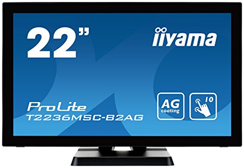 iiyama ProLite T2236MSC-B2AG 55cm (21,5 Zoll) AMVA LED-Monitor Full-HD 10 Punkt Multitouch kapazitiv (VGA, DVI, HDMI, USB3.0, AntiGlare Beschichtung) schwarz