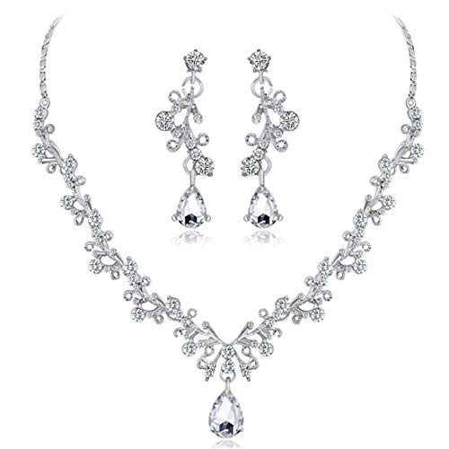 Liquidazione offerte, fittingran liquidazione offerte collana + orecchini gioielli set donna sposa sposa gioielli regali (b)