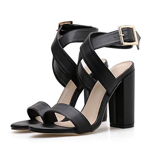 XTQCBQL Women Summer Platform 11.5cm High Heels Dress Thick Block Heels Brown Sandals Lady Pumps Female Sandals Strap Shoes Brown Womens Heels