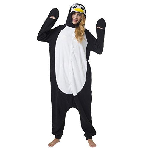 Katara 1744 - Pinguin Kostüm-Anzug Onesie/Jumpsuit Einteiler Body für Erwachsene Damen Herren als Pyjama oder Schlafanzug Unisex - viele verschiedene Tiere (Partner Halloween Kostüme 2017)