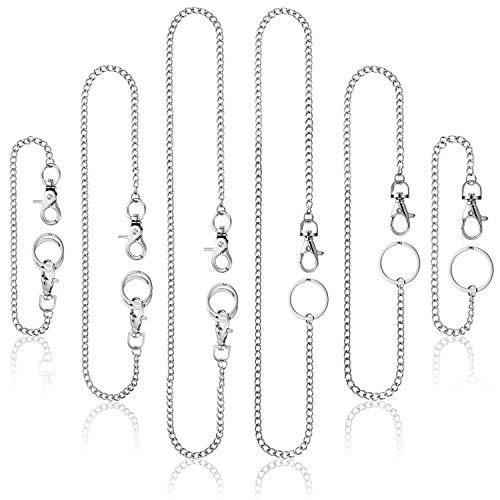 WILLBOND 6 Stück Tasche Schlüsselanhänger Brieftasche Kette mit Karabinerverschluss Jean Kette für Damen Männer Jeans Hosen, 3 Größe