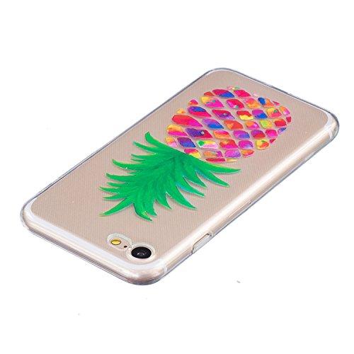 iPhone 8 Hülle,iPhone 7 Hülle,ikasus Handyhülle iPhone 8 / iPhone 7 Silikon Hülle Schutzhülle [Kristallklar Durchsichtig],Kunst Malerei Muster Stoßdämpfend Transparent TPU Silikon Schutz Handy Hülle C Gemalte Ananas