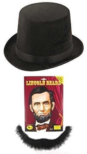 Labreeze Herren Stiefzehen Lincoln Hut mit Bart Gentleman Fasching Party Set (Lincoln Hut Mit Bart)