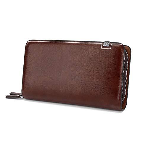 FRYP Reisebrieftasche aus Leder Reisebrieftasche Leder Clutch Bag Tote Double Zip Wallet Men -