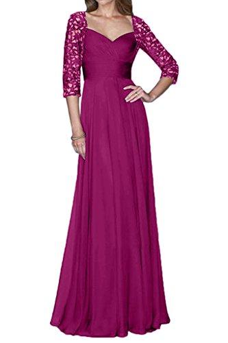 Milano Bride Elegant Tuell Spitze Mutterkleider Abendkleider Festmode Lang A-linie Aermel Fuchsia