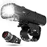 TEMINICE Bike Light Set,USB Rechargeable Waterproof Runtime 8+ Hours 400 Lumen Super Bright Headlight Front Lights and Back Rear LED, 4 Light Mode Fits All Bicycles, Mountain, Road