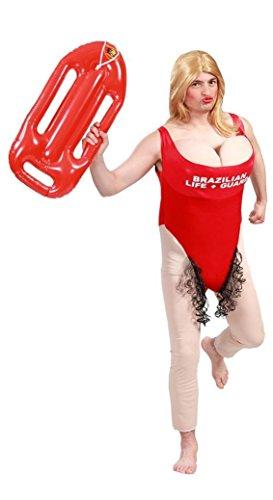 Zeus Party Costume completo bagnina baywatch kit con PARRUCCA e SALVAGENTE GONFIABILE - VESTITO VIGILANTE PLAYA travestimento ADDIO AL CELIBATO