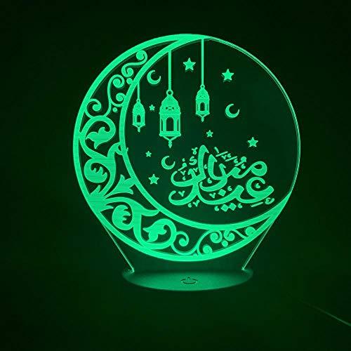Zcmzcm 3D Luz De Noche 3D Led Lámpara De Luz Nocturna Islam Allah Árabe Niños Dormitorio Decoración Musulmana Regalo Luz De La Noche Luz De La Luna Allah Definición Decoración Del Hogar