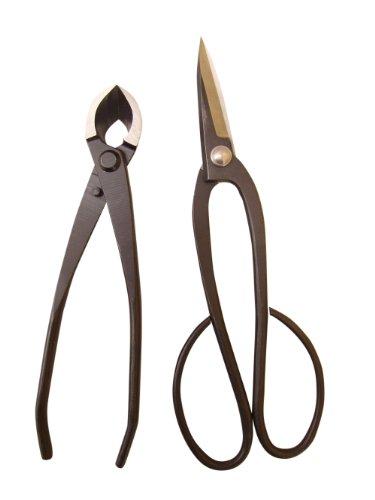 Genki-Bonsai Bonsaiwerkzeugset mit 2 Profi Werkzeugen in schwarz (Bonsaischere mittelbreit, Konkavzange 170mm)