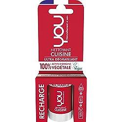 YOU - Recharge pour Spray Nettoyant Cuisine - Ultra Dégraissant - 100% d'Actifs d'Origine Végétale - Certifié Vegan - Parfum Naturel - Fabriqué en France - Concentré pour 500ml - Lot de 8 x 12ml