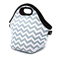 Case Wonder Neoprene Lunch Tote Portable Insulated Waterproof Lunch Bags Pouch Cooler Container For Men, Women, Adults, Kids, Girls, Work, School-Reusable, Washable, Foldable, Light, Zipper (Gray)