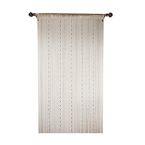 Outil à tricoter de déformation Plastique Chaîne à billes Rideau pour décoration de maison avec Creative à rayures Tassel Motif, champagne, 90x200cm(35x79'')
