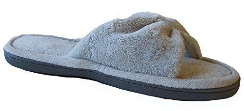 Isotoner Women's Microterry Bow Open Toe Slide Slipper, Light Grey, 6.5-7 (Womens Slide Slipper)