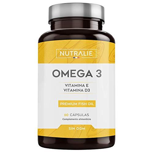 Omega 3 2000mg + Vitaminas D3 y E   1250mg EPA-DHA por Dosis   Aceite de Pescado Altamente...