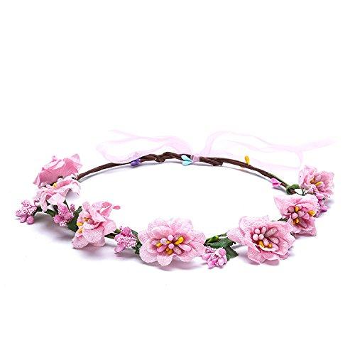 (Shager Damen Boho Blumen Festival Hochzeit Garland Haar Kopf Band Beach Party Stirnbänder (B))