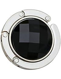 joyliveCY Plegable de diamantes bolso de mano bolso gancho percha soporte negro negro