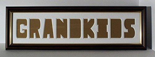 Grandkids Double montiert Foto Rahmen–Ice Weiß Top Mount, Super Weiß Bottom Mount mit Holz Effekt Rahmen mit Gold Inlay