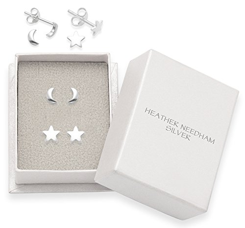 Sterling Silver Moon & Star Earrings set- SIZE: Small - 5mm & 4.7mm. Gift Boxed.