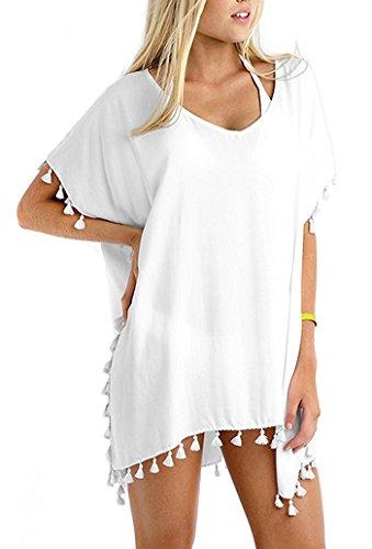 YousonGirl Solid Coldr Tassel Sunscrees Sarong Swim Beach Cover Up Chiffon Kimono Loose Tops, Cardigan For Bikini, Womens Swimwear Beachwear Beach Dress, One Size (White)