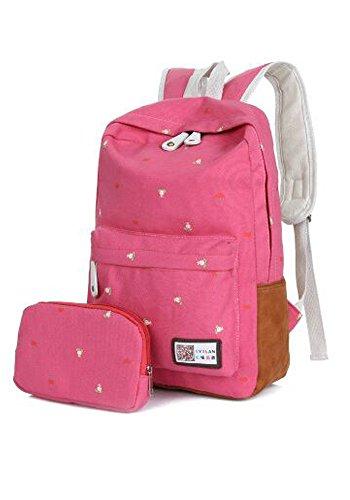 Unisex Canvas Leichte Laptop-Tasche / Schulter Daypack / Modeschule Rucksack / beiläufige Handtasche w / kosmetischer Beutel ( Blau) Rosa