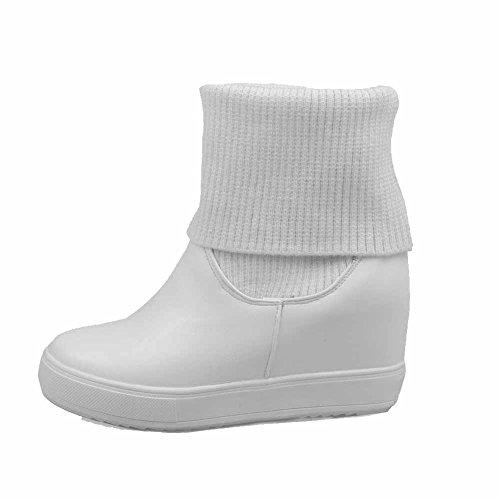 AllhqFashion Damen Ziehen Auf Rund Zehe Niedrig-Spitze Stiefel Weiß