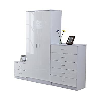 Homcom High Gloss 3 Piece Trio Bedroom Furniture Set Wardrobe + Chest Of Drawer + Bedside White - cheap UK light shop.