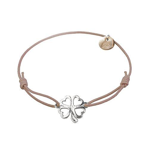 lua accessories - Armband Damen - Elastikband - größenverstellbar - hochwertig versilbertes Kleeblattsymbol - Clover silber (taupe)