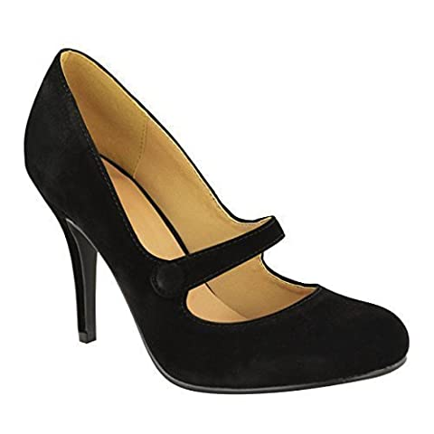 LADIES WOMENS LOW MID HIGH HEEL ANKLE STRAP COURT SHOES WORK PUMPS SANDALS SIZE (UK 6, Black Suede)