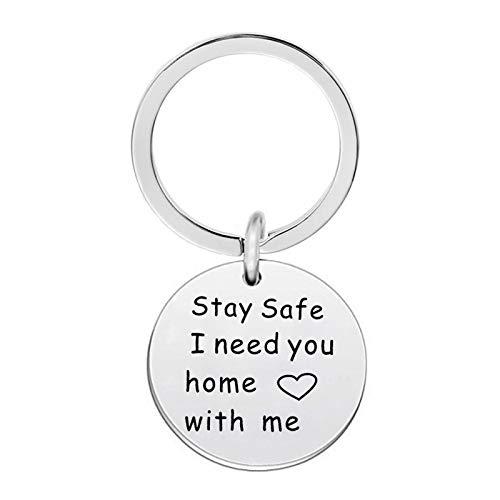 änger Edelstahl Herz/Rund Ringe mit Kreis Graviert Stay Safe,I Need You Home with me Anhänger Silber Schlüsselschilder Schlüsselbund ()