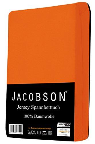 Jacobson Jersey Spannbettlaken Spannbetttuch Baumwolle Bettlaken (60x120-70x140 cm, Orange) - 2