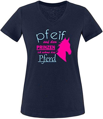 EZYshirt® Pfeif auf den Prinzen ich nehm das Pferd Damen V-Neck T-Shirt Navy/Pink/Hellbl