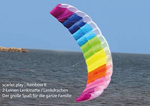 Scarlet Play | Zweileiner Lenkdrachen »Rainbow II« mit Leine für 30 m Abstand; Größe: ca. 50 x 120 cm; Lenkmatte/Flugdrachen in Regenbogenfarben