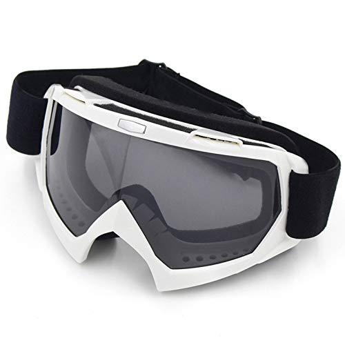 Epinki Erwachsene TPU+PC Schutzbrillen Staubdicht Motorradbrillen Radsportbrille Skibrille Winddicht Outdoor Schutz Brille für Skifahren Schneemobil Motorrad Fahrrad, Hell Weiß Grau