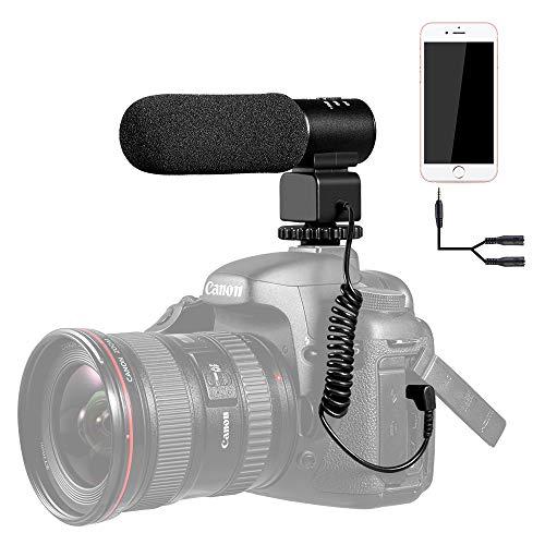 K&F Concept CM-500 VideoMic Microfono Direzionale Microfono Stereo Microfono di Condensatore Fotografia Intervista Registrazione per Canon Nikon Fotocamera DSLR