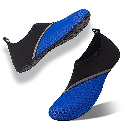 Scarpe da Immersione Mare Spiaggia Ballo Yoga Sport Acquatico Traspirante Scarpe a Piedi Nudi dell'Acqua Scarpe Acquatici per Donna Uomo(Blu Scuro,43EU/44EU)