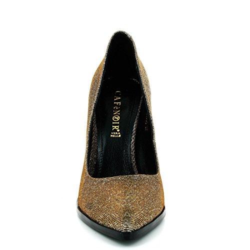CAFè NOIR FH415 nero scarpe donna anfibio scarponcini vernice paillettes Nero
