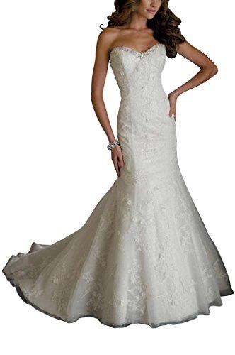 GEORGE BRIDE Schatzausschnitt Kristall Perlen Garn Brautkleider Hochzeitskleider, Groesse 38, Weiss