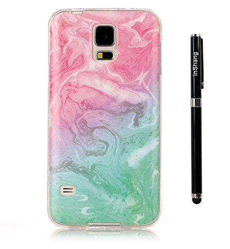 inShang Coque pour Samsung Galaxy S5 téléphone portable antidérapant, Ultra fin et léger, matériel de TPU Soft Shell, pratique Coque arrière pour Galaxy S5 avec Marbre Motif + 1pièce Entreprise stylet