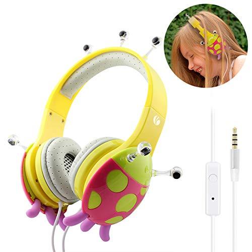 Kinder Kopfhörer, VCOM Verstellbare Over Ear Stereo Mädchen Jungen Kinder Kopfhörer kindgerechten Marienkäfer Headsets mit Lautstärke Begrenzender für iPhone iPad PC Laptop Kindle Tablet- Rosa/gelb (Auto-dvd-player Samsung)