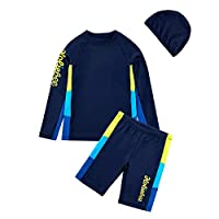 BASADINA Boys Swimsuits Short Sleeves 2 Piece Sunscreen Swimming Costume Boys Swimwear 4-14 Years