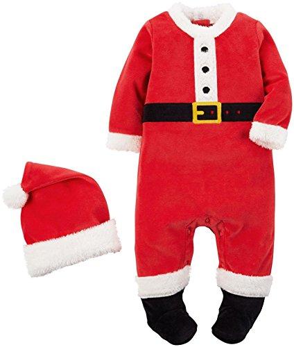Carter's Weihnachtsmann Anzug 2 teilig Overall + Mütze SANTA Baby Weihnachten Junge (50/56)