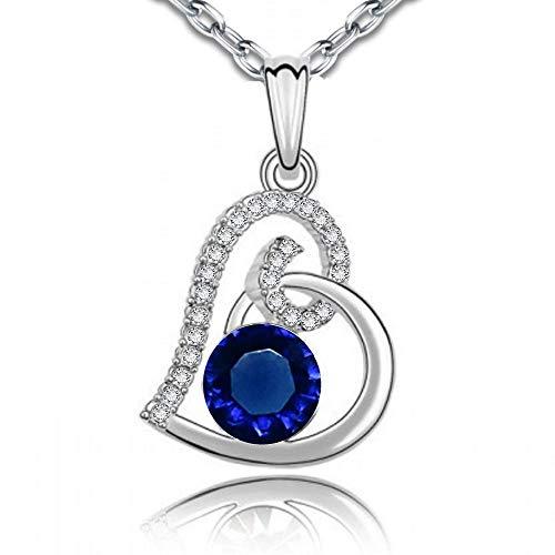 Ensemble collier et boucles doreille 18 carats plaqu/é or blanc avec cristaux autrichiens bleu imitation saphir en zircone